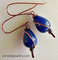 Blue Jade and Copper Wire Wrapped Earrings   zoraida - Jewelry on ArtFire