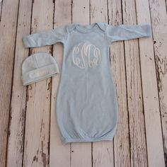 Monogrammed Baby Gown and Beanie - Boy or Girl - Black - Blue - Newborn - Baby Gift - Embroidered - Personalized - Coming Home by TrendyBiscuit on Etsy