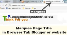 Marquee Page Title in Browser Tab Blogger or website