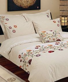 Seasons Collection Belarus Duvet Cover Set in Multicolor - Beyond the Rack Embroidered Bedding, Fabric Paint Designs, Bed Design, Bed Spreads, Home Textile, Comforter Sets, Duvet Cover Sets, Luxury Bedding, Bed Sheets