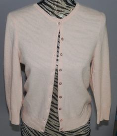 100% Cashmere Pastel Pink Cardigan Sweater Crafters Material Holes Small AS IS #SO #Cardigan