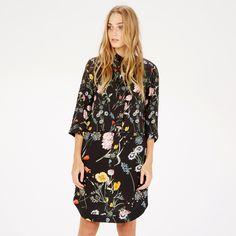 Warehouse, Scatter Floral Shirt Dress Black Pattern 0