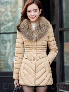 Ericdress Plain Slim Mid-Length Cotton Coat 5