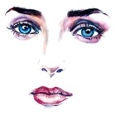 Items similar to Face Fashion Illustration Print Watercolor Eye... ❤ liked on Polyvore featuring faces