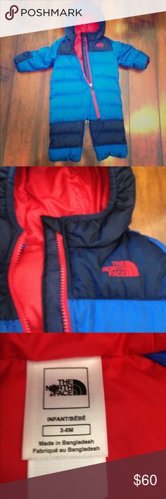 The North Face Infant Snowsuit Adorable and warm down suit from The North Face.  In excellent condition.  The legs can be zippered together so it's a bunting or infant sleeping bag for cold weather camping. The North Face Jackets & Coats