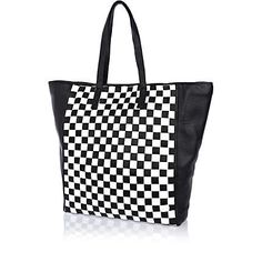 Black and white check leather tote bag - shopper / tote bags - bags / purses - women