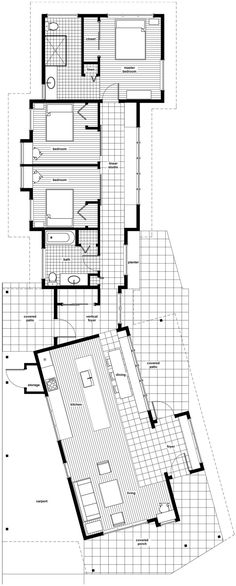 This contemporary dogtrot floor plan from Ratliff Architecture has a great dynamic shape. I would want to switch the living space and the two bedrooms/gallery and remove the wall between the two bedrooms to create a large open studio space.