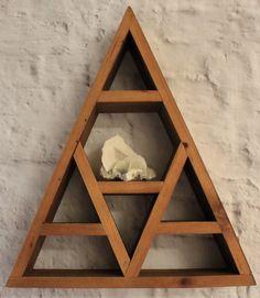 Single Peak Mountain Display Shelf by skyeosheacollection on Etsy Wood Shelves, Display Shelves, Display Cases, Display Ideas, Shelving, Triangle Wood Shelf, Regal Display, Displaying Crystals, Crystal Shelves