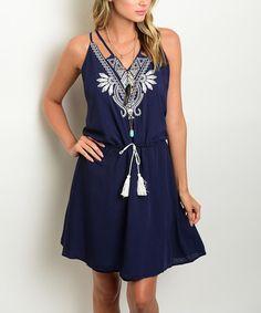$19.99 marked down from $63! Navy Geometric Tassel Blouson Dress #navy #dress #boho #zulily! #zulilyfinds