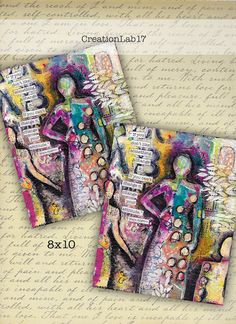 CreationLab17: Mixed Media Art Project video tutorial - with acry...
