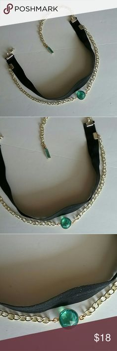 "Emerald City Choker I made this  adorable choker today 6/1/17 ~~ Is 13"" inches with stretch of you need it. Ladies are saying they love that about these. ~ Read my love note at the bottom of my closet. (Is not an emerald gem.) Poetry in Motion  Jewelry Necklaces"