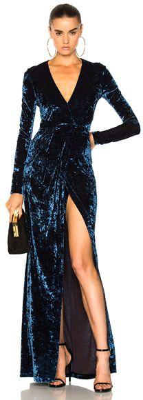 GALVAN Hammered Velvet Long Sleeved Dress in Blue.