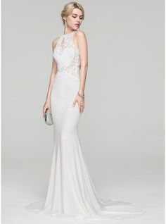 Trumpet/Mermaid Scoop Neck Sweep Train Jersey Wedding Dress With Beading Sequins (002118461) - JJsHouse