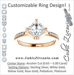 Cubic Zirconia Engagement Ring- The Ashanti (Customizable Asscher Cut feat Thin Band with Shared-Prong Round Accents)