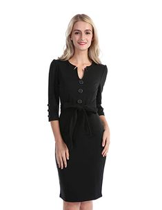 CHICIRIS Business Formal Pencil Dress for Women Work Office Black Size XL  Business Formal 76698acb5
