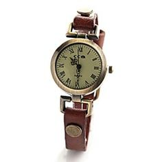 Women's Vintage Style Leather Band Quartz Analog Wrist Watch... – EUR € 7.99