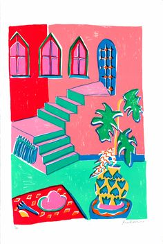 Brand new print edition from Rose Electra Harris, 'Pink Stairs in Summer' Edition of just 30 and £195 Available from Print Club NOW! FREE UK SHIPPING