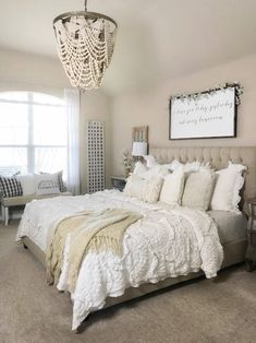 Attractive Farmhouse Bedroom Design and Decor Ideas You Must Check – Best Home Decorating Ideas - Page 24 Cheap Home Decor, Diy Home Decor, Painted Fox Home, Farmhouse Master Bedroom, Modern Bedroom, Contemporary Bedroom, Narrow Bedroom, Cute Dorm Rooms, French Country Bedrooms