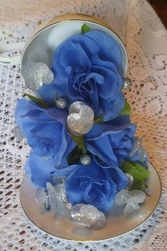 Vintage Royal Taunton White China Platinum Trim Blue Roses