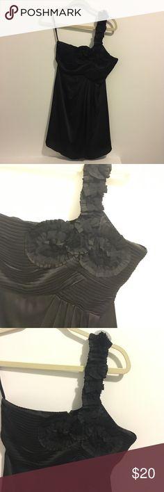 Black Cocktail Dress Black one shoulder Cocktail Dress. Adjustable shoulder. Zippered back. Excellent condition. Ya Dresses Prom