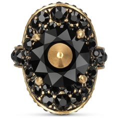 Gucci Ring With Stud And Crystals ($505) ❤ liked on Polyvore featuring jewelry, rings, fashion jewellery, gold, jewellery & watches, chain ring, swarovski crystal rings, gucci jewellery, gucci ring and pave jewelry