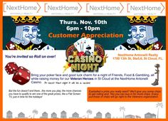 We are having a Customer Appreciation Casino Night to Celebrate the Grand Opening of our new office in St Cloud, FL on RT192. Everyone is invited, client