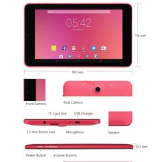 Amazon.com : Alldaymall Tablet with 64 bits Quad Core CPU, 7'' HD 1920x1200 IPS Display, Android 5.1 Lollipop, 1GB RAM 16GB Flash, Wi-Fi, Bluetooth, Dual Camera - Pink : Electronics