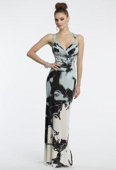 Camille La Vie Floral Print Jersey Prom Dress