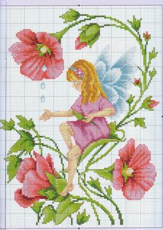 flower fairy cross stitch: Maybe convert this to crochet Fantasy Cross Stitch, Cross Stitch Fairy, Cross Stitch Angels, Cross Stitch Flowers, Cross Stitch Charts, Cross Stitch Designs, Cross Stitch Patterns, Cross Stitching, Cross Stitch Embroidery