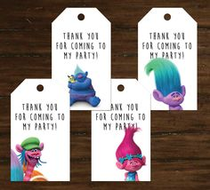 Trolls Party Thank You Tags (Set of 4) by TamaramaStudios on Etsy https://www.etsy.com/listing/481637971/trolls-party-thank-you-tags-set-of-4