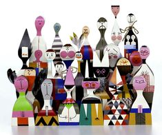Alexander Girard, architect and textiles designer was inspired by folk art and made these wooden dolls for his home in the 60's. They are in production today through Vitra.
