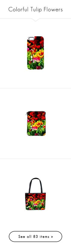 """""""Colorful Tulip Flowers"""" by polyart-466 ❤ liked on Polyvore featuring accessories, tech accessories, home, home decor, kitchen & dining, drinkware, wall art, bar tools, bed & bath and bedding"""