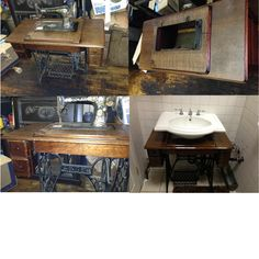 Our new bathroom sink at Rub BBQ Company...I repurposed an old singer sewing machine as a base for the sink bowl.....