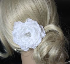 White Peony Crystal Hair Flower comb / Clip by WearableArtz, $29.00