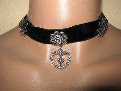 Trachtenschmuck, Halsband, Herz, Edelweiß, Schwarz