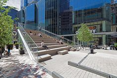 The recently completed Millennium Tower in Boston's Downtown Crossing anchors the neighbourhood with a 600ft (180m) residential tower, new commercial spaces, and new pedestrian-oriented public spaces. Designed by Höweler + Yoon Architecture, The Steps, as they are known to locals, have become a new type of public space in the city.