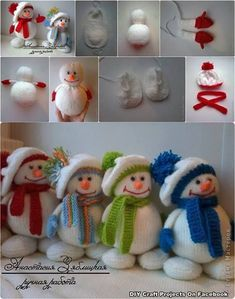How to make cute snowman dolls with winter hats step by step DIY tutorial instructions by tanisha