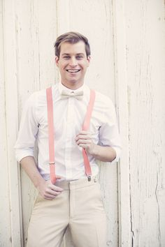 Cheeky Coral Suspenders  with a Tan Suit | Ashley DePencier Photography | See More: http://heyweddinglady.com/country-romance-pastel-spring-wedding-inspiration-from-ashley-depencier-photography/