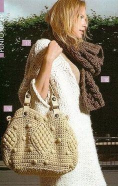Popcorn stitch bag. Free pattern