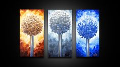 Modern Painting of Trees  Abstract triptych art large by GossArt