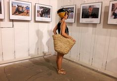 Sandals, head wrap and oversized straw bag