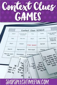 Build Tier 2 vocabulary and practice using context clues with your older speech and language therapy students. 3 games in 1 for tons of fun and engagement. Context Clues Games perfect for upper elementary and middle school speech students.