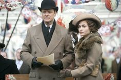 "Colin Firth as King George VI and Helena Bonham Carter as Queen Elizabeth in ""The King's Speech"""