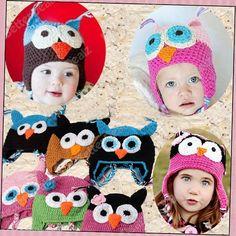 6 Color Kids Toddler Baby Cute OWL Animal Crochet Knit Woolly Cap Ear Hat Boy Girl Use