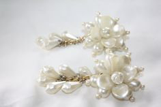 Vintage Pearl Drop Dangle Earrings Funky Retro  1980s Jewelry Bridal by patwatty on Etsy