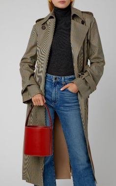 Staud's signature 'Bissett' bag is crafted from cognac leather in a structured bucket silhouette. Bucket Bag, Military Jacket, Women Wear, My Style, Leather, Jackets, Fashion Design, Bags, Collection