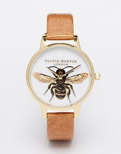 Olivia Burton Bee Tan Leather Strap Midi Dial Watch  Um I really really reeeeeeeally want this
