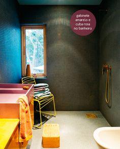 cool bathroom: pink sink + yellow cabinet