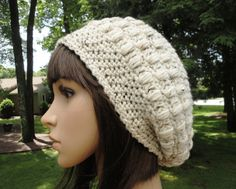 Crochet Hat for Women, Teens, Slouchy Hat, Beanie, Off White with Neutral Flecks