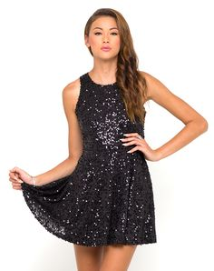 Motel Spearmint Sequin Skater Dress in Black, TopShop, ASOS, House of Fraser, Nasty gal, 19